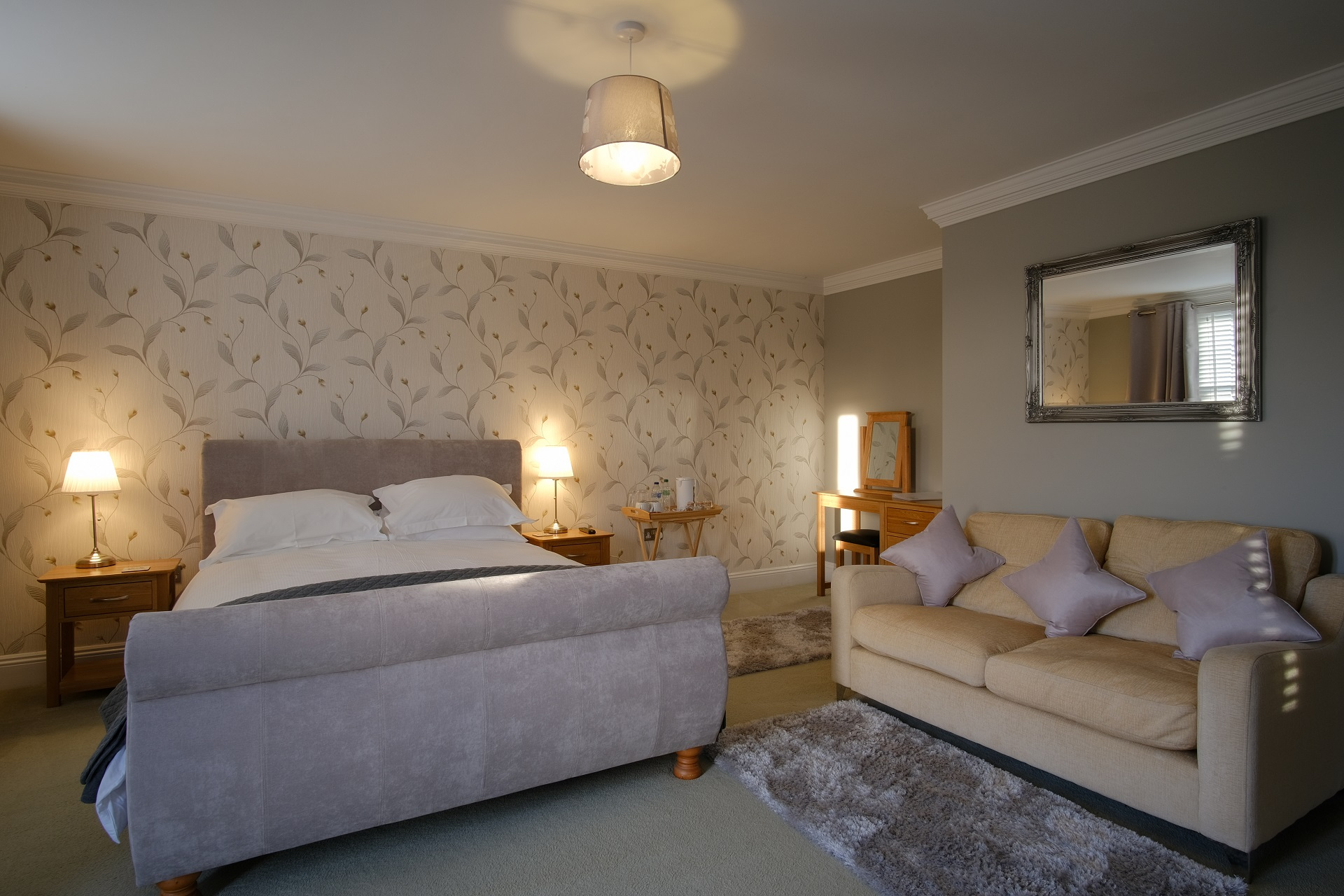 manor farmhouse bedroom 3 bed and sofa